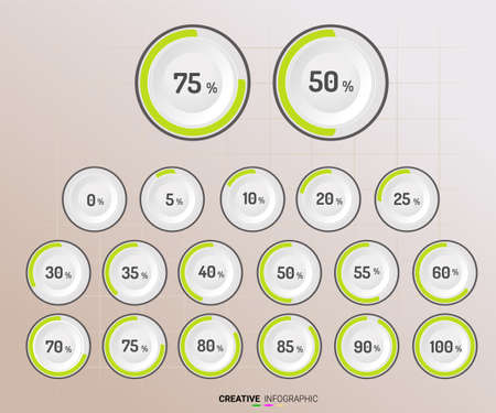 Set of circle percentage diagrams (meters) from 0 to 100 ready-to-use for web design. Vector illustration. Illustration