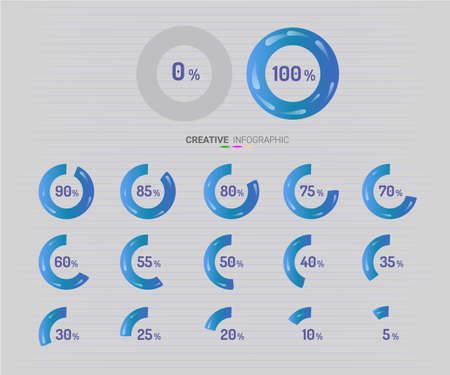 Set of circle percentage blue color diagrams from 0 to 100 ready-to-use for web design, user interface (UI). Illustration