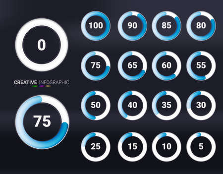 Set of circle percentage blue color diagrams from 0 to 100 ready-to-use for web design, user interface (UI). Illusztráció