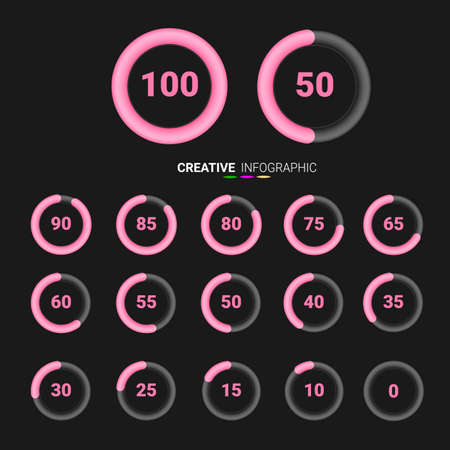 Set of circle percentage diagrams   Red color from 0 to 100 ready-to-use for web design, user interface (UI).