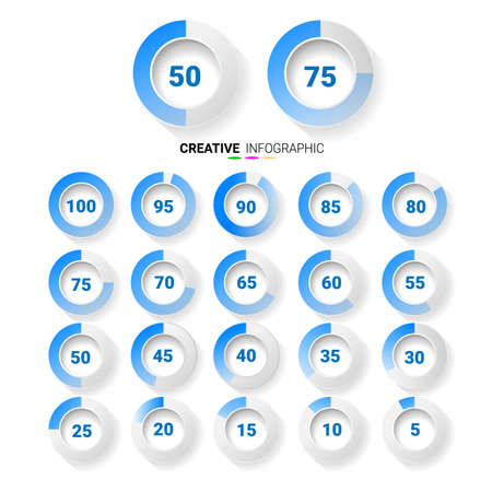 Set of circle percentage blue color diagrams from 0 to 100 ready-to-use for web design, user interface (UI). Ilustracja