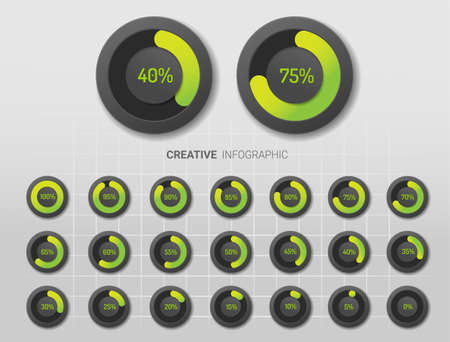 Set of circle percentage diagrams (meters) from 0 to 100 ready-to-use for web design. Vector illustration. Ilustracja