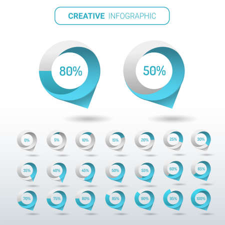 Set of circle percentage diagrams Blue Color from 0 to 100 ready-to-use for web design, user interface (UI).