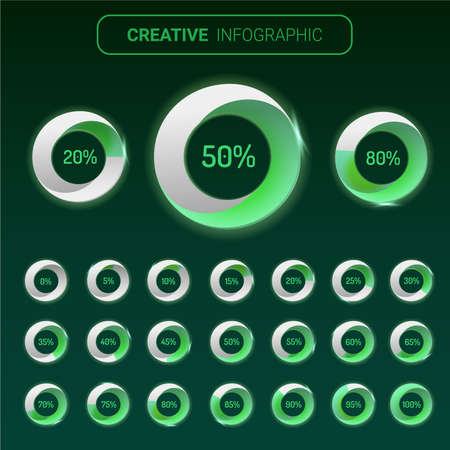 Infographic Elements Chart circle with indication of percentages, Green color diagrams.