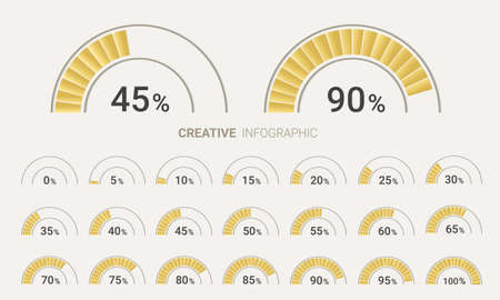 Set of circle percentage diagrams (meters) from 0 to 100 ready-to-use for web design. Vector illustration. Illusztráció