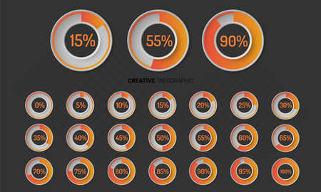 Infographic Elements Chart circle with indication of percentages, Vector illustration.