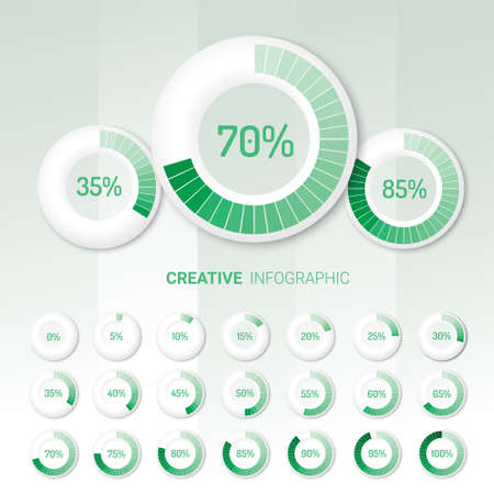 Set of circle percentage diagrams from 0 to 100 ready-to-use for web design, user interface (UI).