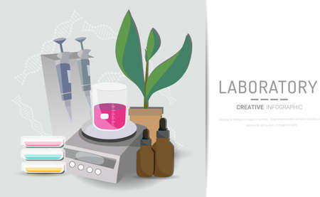 Research laboratory vector illustration concept, scientis working at laboratorium , vector template background isolated, can be use for presentation, web, banner ui ux, landing page.
