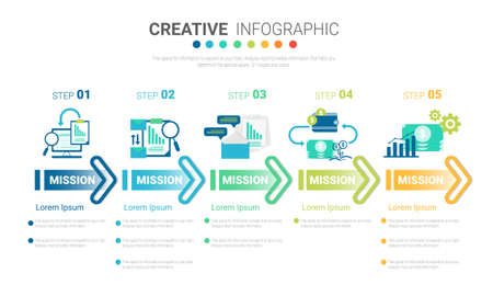 Presentation infographic template with 5 options, vector infographics design and marketing icons can be used for workflow layout, steps or processes. Vectores