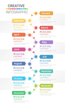 Timeline All month in the year planner design and Presentation business can be used for Business concept with 12 options, steps or processes.