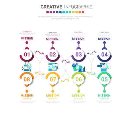 Infographic design template with numbers 8 option for Presentation infographic, Timeline infographics, steps or processes. Vector illustration. Vectores