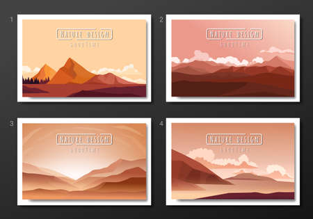landscape illustration set, Vector banners set with polygonal landscape illustration, Minimalist style.