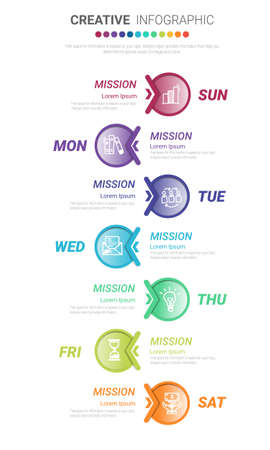 Time line, Timeline business for 7 day, week, Timeline infographics design vector and Presentation business can be used for Business concept with 7 options, steps or processes. Vectores