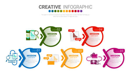 Presentation infographic template with 5 options, vector infographics design and marketing icons can be used for workflow layout, steps or processes. Foto de archivo - 154032355