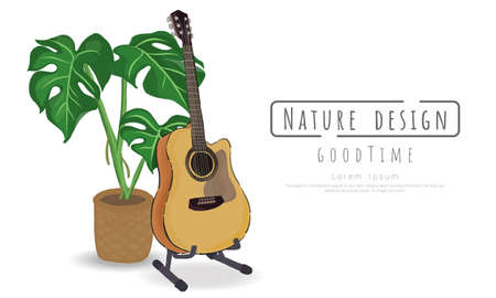 Potted plants and Guitar on white background, isolated objects,  message area, Hand drawn, Vector drawn illustrations. Vectores