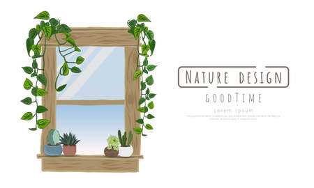 Potted plants and window wood on white background, isolated objects,  message area, Hand drawn, Vector drawn illustrations.
