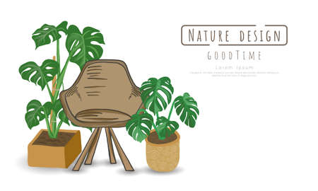 Potted plants and chairs wood on white background, isolated objects,  message area, Hand drawn, Vector drawn illustrations. Vectores