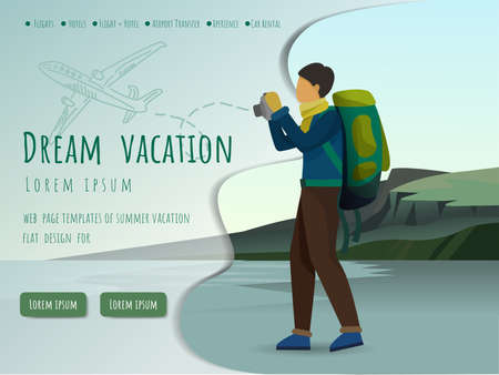 Landing page template of dream vacation. man and the mountain peaks, Modern flat design concept, Vector illustration.