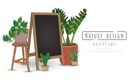 Potted plants with Black board for writing messages, Indoor and outdoor landscape garden potted plants isolated on white, Vector set green plant in the pot.