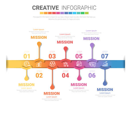 Timeline business for 7 day, 7 options, Timeline infographics design vector and Presentation business can be used for Business concept with 7steps or processes. Foto de archivo - 154340030