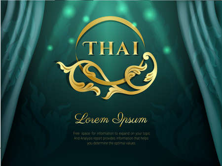Thai background Green color with flower Logo, Thai pattern traditional concept, Asian traditional art design. Vector illustration.