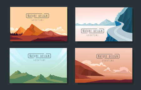 Landscapes vector set, flat style. Natural wallpapers are a minimalist, polygonal concept.