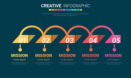 Infographic design template with numbers 5 option can be used for workflow layout, diagram, number step up options. Vectores