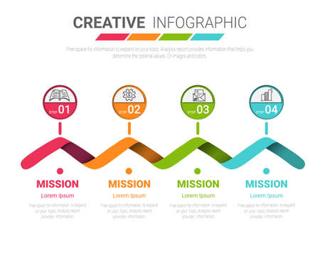 Abstract infographics number options template with steps, with 4 label. Can be used for workflow layout, diagram, business step options, banner, web design. Vector eps 10.
