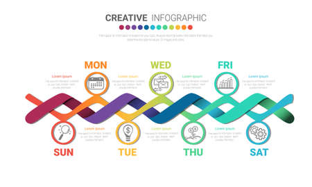 Timeline business for 7 day, 7 options, Timeline infographics design vector and Presentation business can be used for Business concept with 7steps or processes.