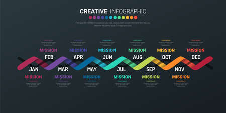 Timeline for 1 year, 12 months, infographics all month planner design and Presentation business can be used for Business concept with 12 options, steps or processes. Ilustración de vector