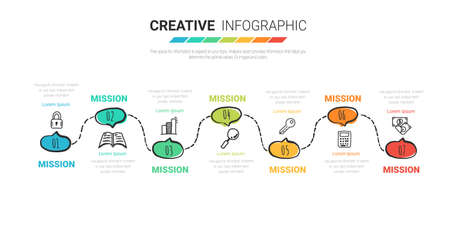 Timeline business for 7 day, 7 options, Timeline infographics design Hand drawn line art cartoon concept.
