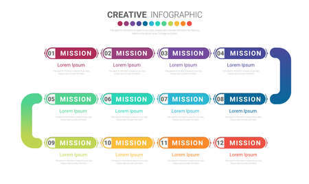 Infographic design template with numbers 12 option for Presentation infographic, Timeline infographics, steps or processes. Vector illustration.