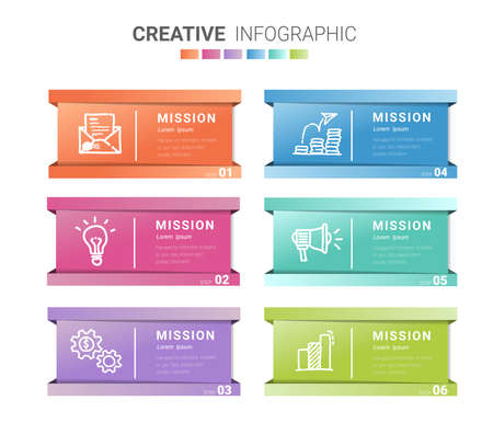 Infographic template with numbers 6 option can be used for workflow layout, diagram, number step up options.