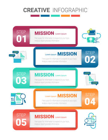 Presentation infographic template with 5 options, vector infographics design and marketing icons can be used for workflow layout, steps or processes. Иллюстрация