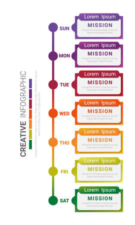 weekly planner for business, timeline 7 day, Can be used for workflow layout, diagram, business step options, banner, web design.