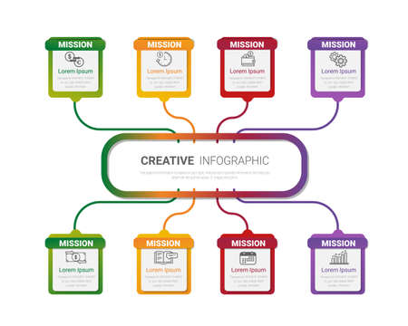 Infographic flow chart with 1 levels, infographic template with 8 steps can be used as diagram, graph, table, workflow layout for web, report, business presentation