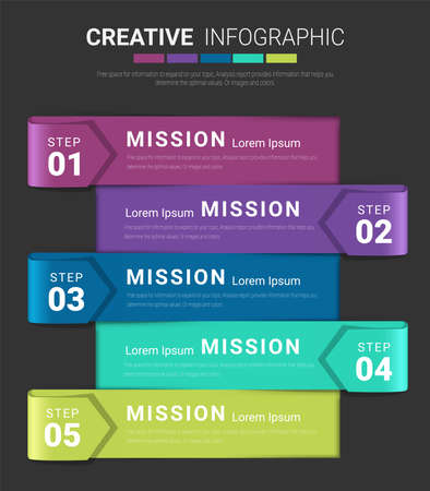 Infographic template with 5 options, vector infographics design and Presentation business can be used for workflow layout, steps or processes. Иллюстрация