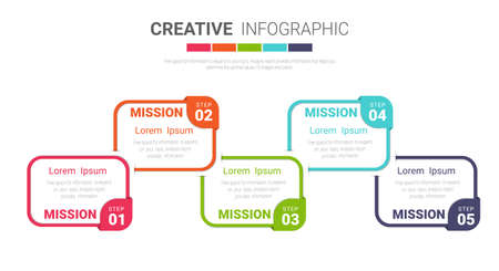 Presentation infographic template with 5 options, vector infographics design can be used for workflow layout, steps or processes.