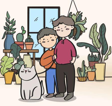Love couple and dog in the garden, LGBTQ illustration. Иллюстрация