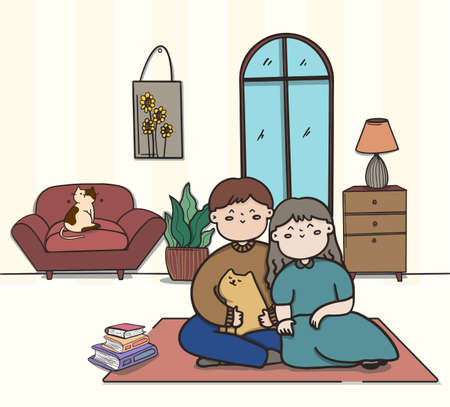 Love couple doing various activities indoors