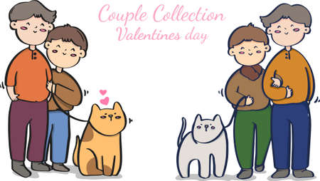 Valentine's day homosexual couple illustrations,  LGBT collection