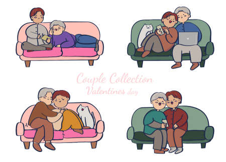Collection of couple on sofa , romantic couple isolated on white background. Vector illustration in flat cartoon style.