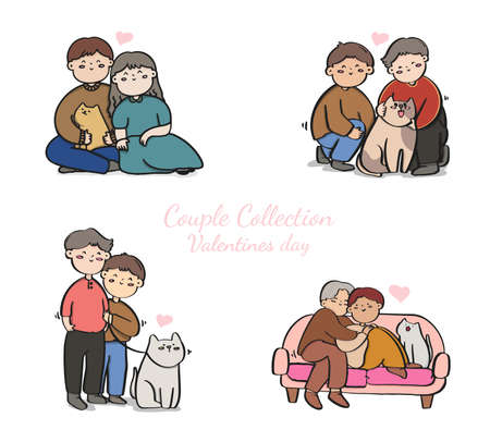 Collection of LGBT or couples, Bundle of male, female and transgender romantic partners isolated on white background. Vector illustration in flat cartoon style.
