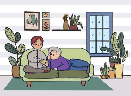 Love couple doing various activities on sofa indoors, Flat design. Иллюстрация