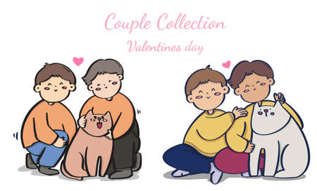 Valentine's day homosexual couple,  Bundle transgender romantic partners isolated on white background, collection vector. Иллюстрация