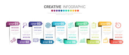 Infographic design template with numbers 10 option for Presentation infographic, Timeline infographics, steps or processes. Vector illustration. Иллюстрация