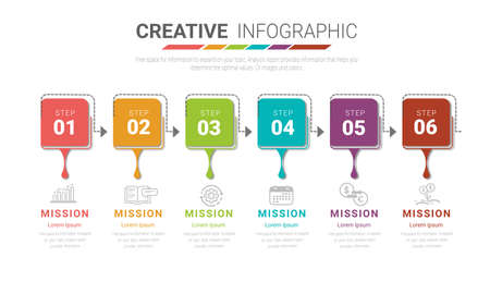Infographics elements design with numbers 6 option, 6 step. can be used for workflow layout, diagram, number step up options.