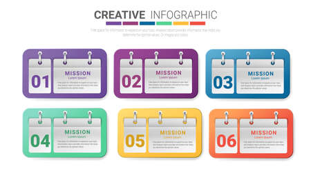 Infographic template design with numbers 6 option, 6 step. can be used for workflow layout, diagram, number step up options.