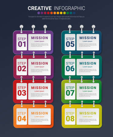 Infographic design template with numbers 8 option for Presentation infographic, Timeline infographics, steps or processes. Vector illustration. Иллюстрация
