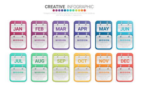 Presentation all months, infographics template for 12 months, 1 year, can be used for Business concept with 12 options, steps or processes.